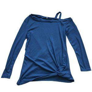 Blue Thermal Open Shoulder Twist Top Size M